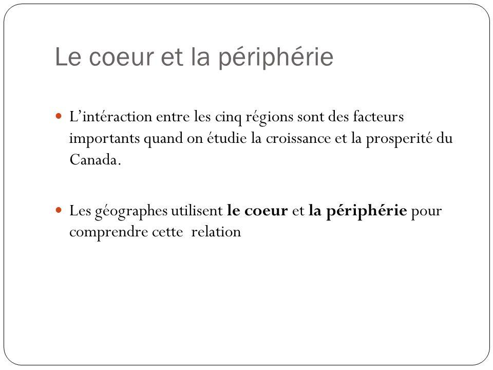 Le coeur et la périphérie Lintéraction entre les cinq régions sont des facteurs importants quand on étudie la croissance et la prosperité du Canada. L