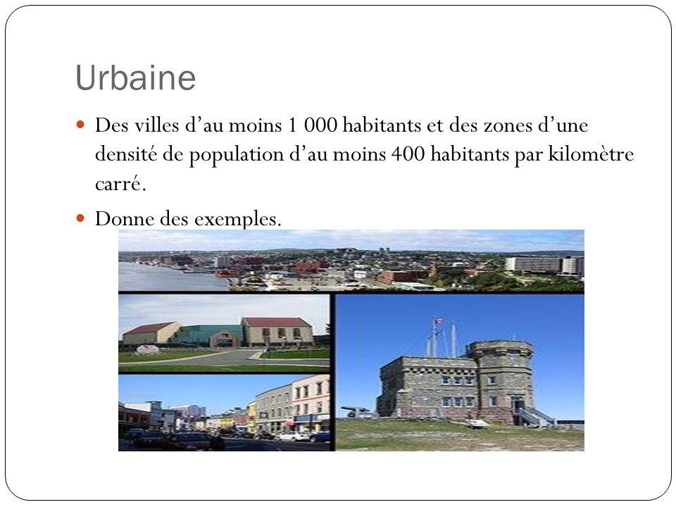 Urbaine Des villes dau moins 1 000 habitants et des zones dune densité de population dau moins 400 habitants par kilomètre carré. Donne des exemples.