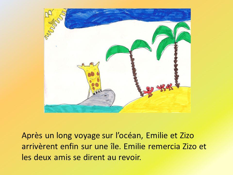 Après un long voyage sur locéan, Emilie et Zizo arrivèrent enfin sur une île.