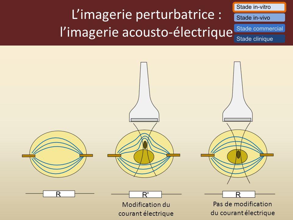 Limagerie perturbatrice : limagerie acousto-électrique Modification du courant électrique Pas de modification du courant électrique