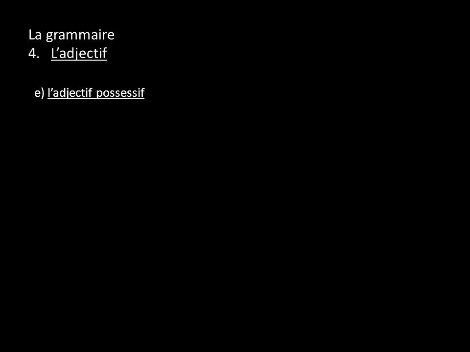 La grammaire 4. Ladjectif e) ladjectif possessif