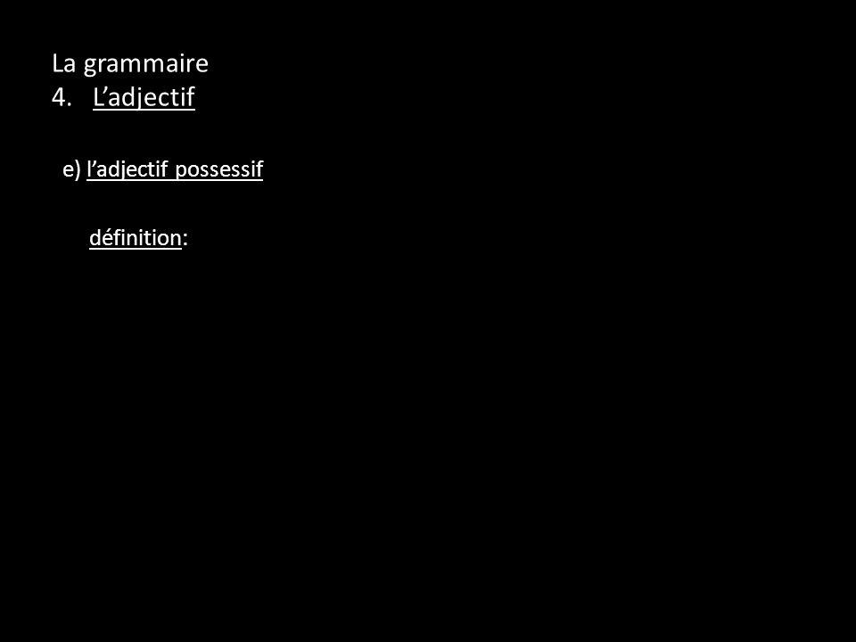 La grammaire 4. Ladjectif e) ladjectif possessif définition: