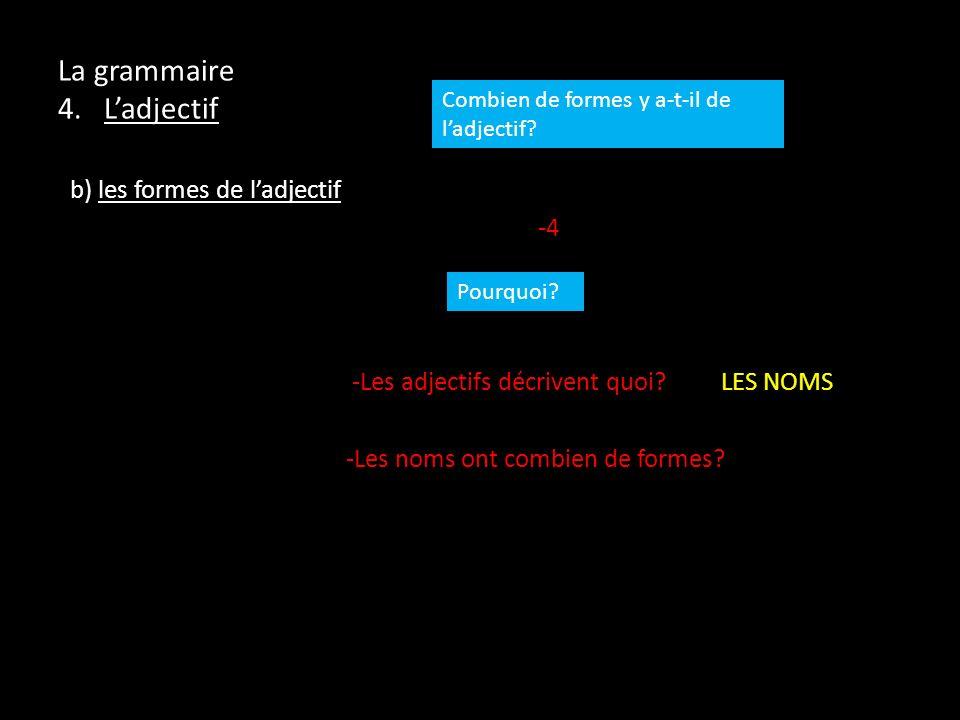 La grammaire 4. Ladjectif b) les formes de ladjectif -4 -Les adjectifs décrivent quoi? LES NOMS -Les noms ont combien de formes? Combien de formes y a