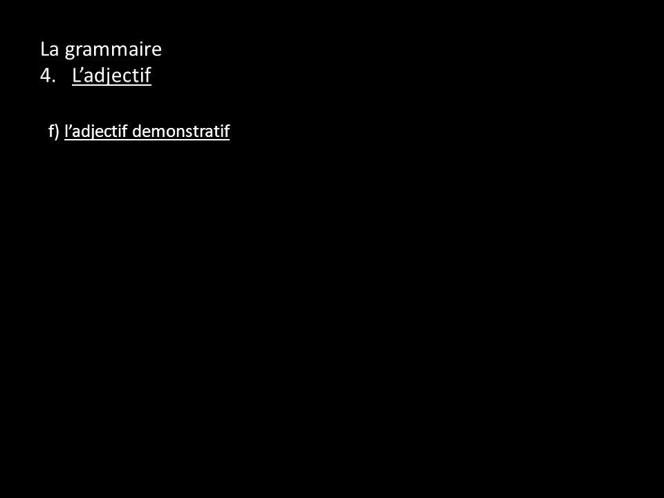 La grammaire 4. Ladjectif f) ladjectif demonstratif