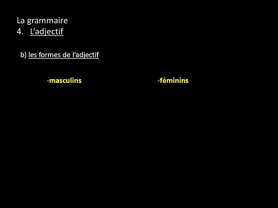 La grammaire 4. Ladjectif b) les formes de ladjectif -masculins -féminins