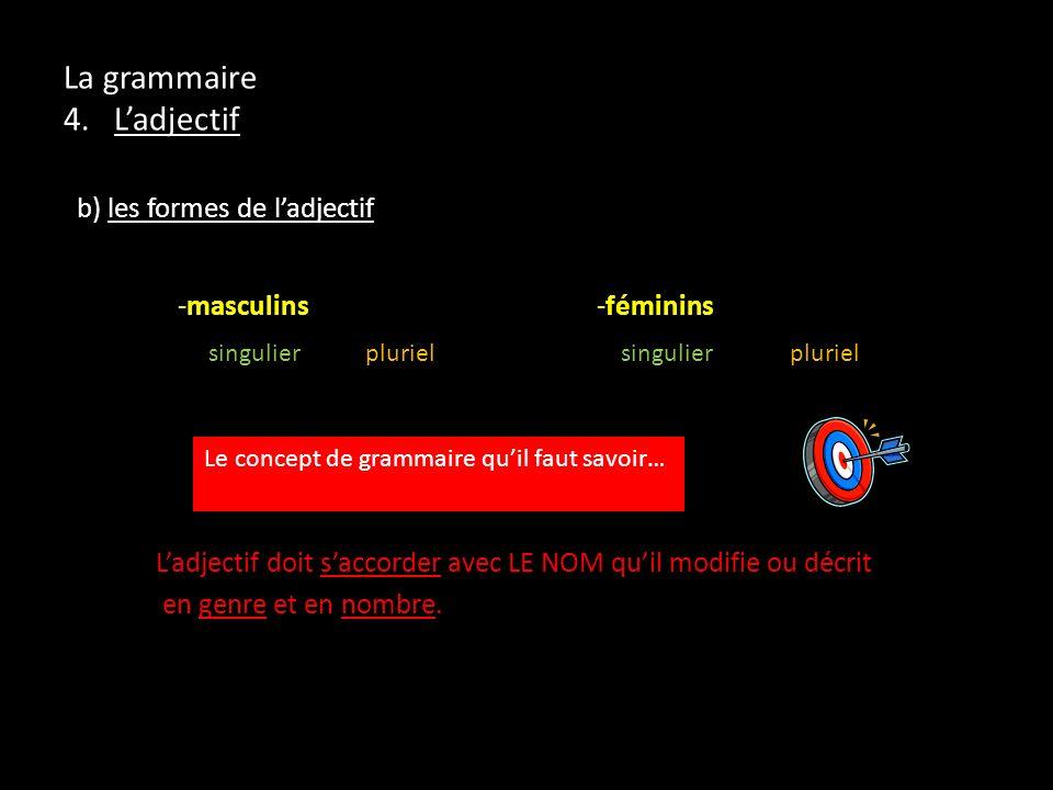 La grammaire 4. Ladjectif b) les formes de ladjectif -masculins -féminins singulier pluriel singulier pluriel Ladjectif doit saccorder avec LE NOM qui