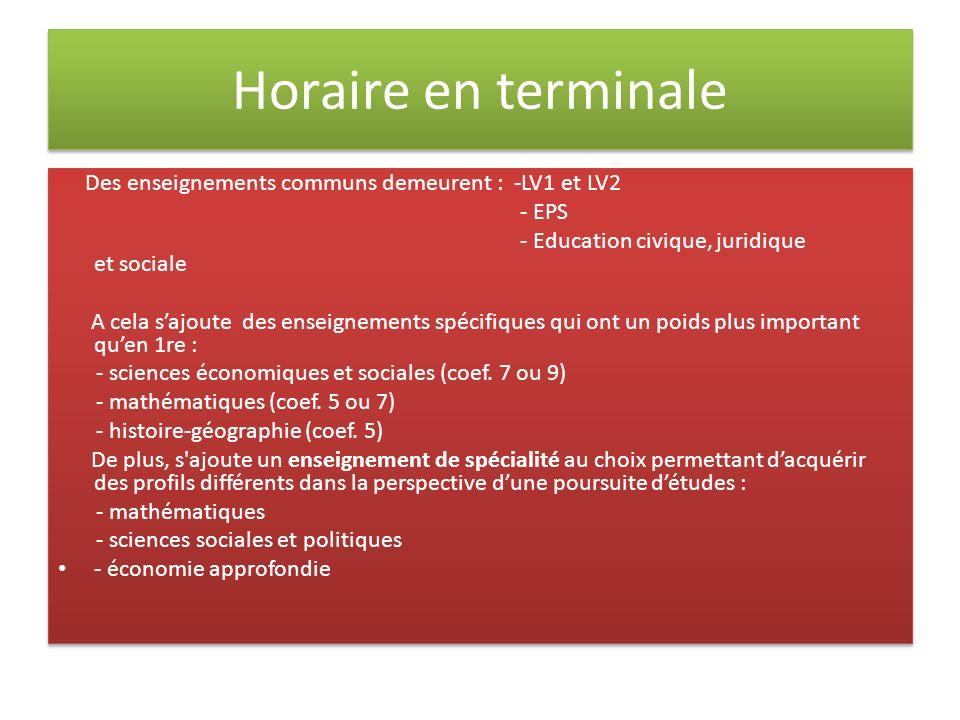 Horaire en terminale Des enseignements communs demeurent : -LV1 et LV2 - EPS - Education civique, juridique et sociale A cela sajoute des enseignement