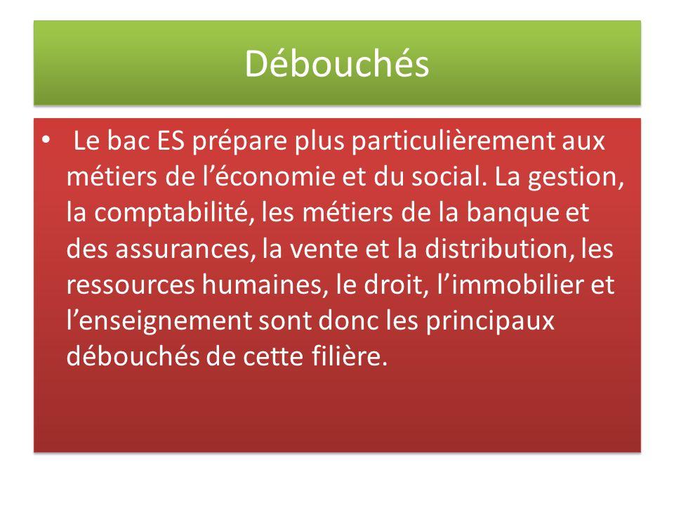 Débouchés Le bac ES prépare plus particulièrement aux métiers de léconomie et du social. La gestion, la comptabilité, les métiers de la banque et des