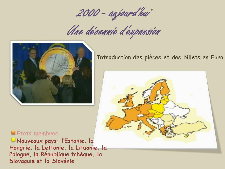 2000 - aujourd'hui Une décennie d'expansion Introduction des pièces et des billets en Euro États membres Nouveaux pays: lEstonie, la Hongrie, la Letto