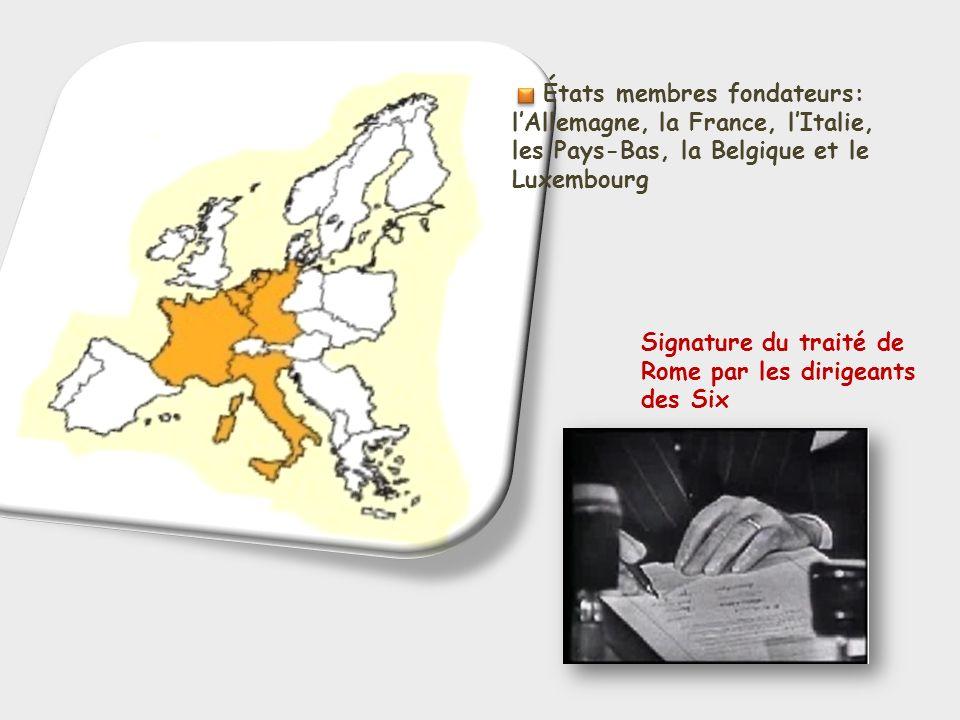 États membres fondateurs: lAllemagne, la France, lItalie, les Pays-Bas, la Belgique et le Luxembourg Signature du traité de Rome par les dirigeants de
