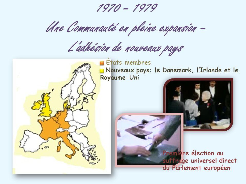 1970 – 1979 Une Communauté en pleine expansion – L'adhésion de nouveaux pays Nouveaux pays: le Danemark, lIrlande et le Royaume-Uni États membres Prem