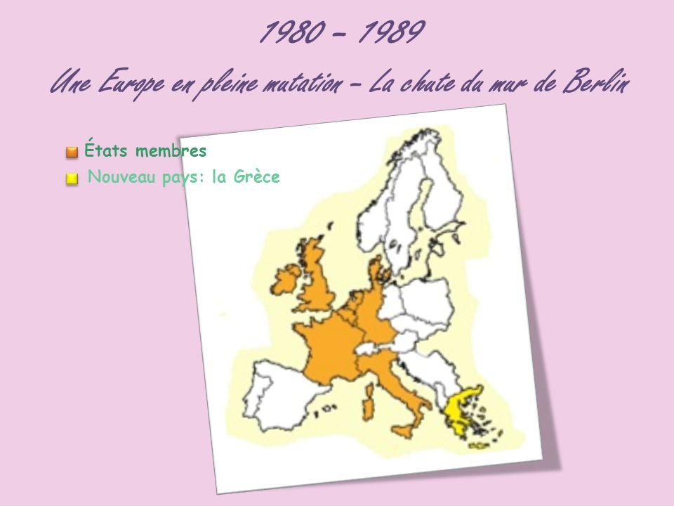 1980 – 1989 Une Europe en pleine mutation – La chute du mur de Berlin États membres Nouveau pays: la Grèce