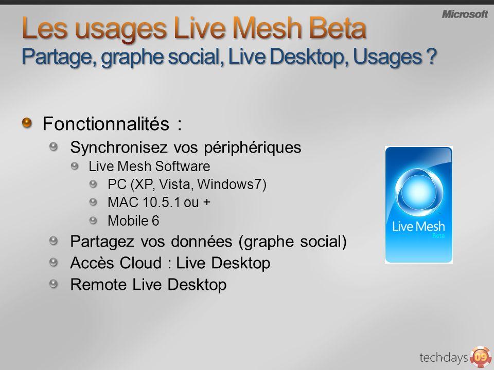 Fonctionnalités : Synchronisez vos périphériques Live Mesh Software PC (XP, Vista, Windows7) MAC 10.5.1 ou + Mobile 6 Partagez vos données (graphe social) Accès Cloud : Live Desktop Remote Live Desktop