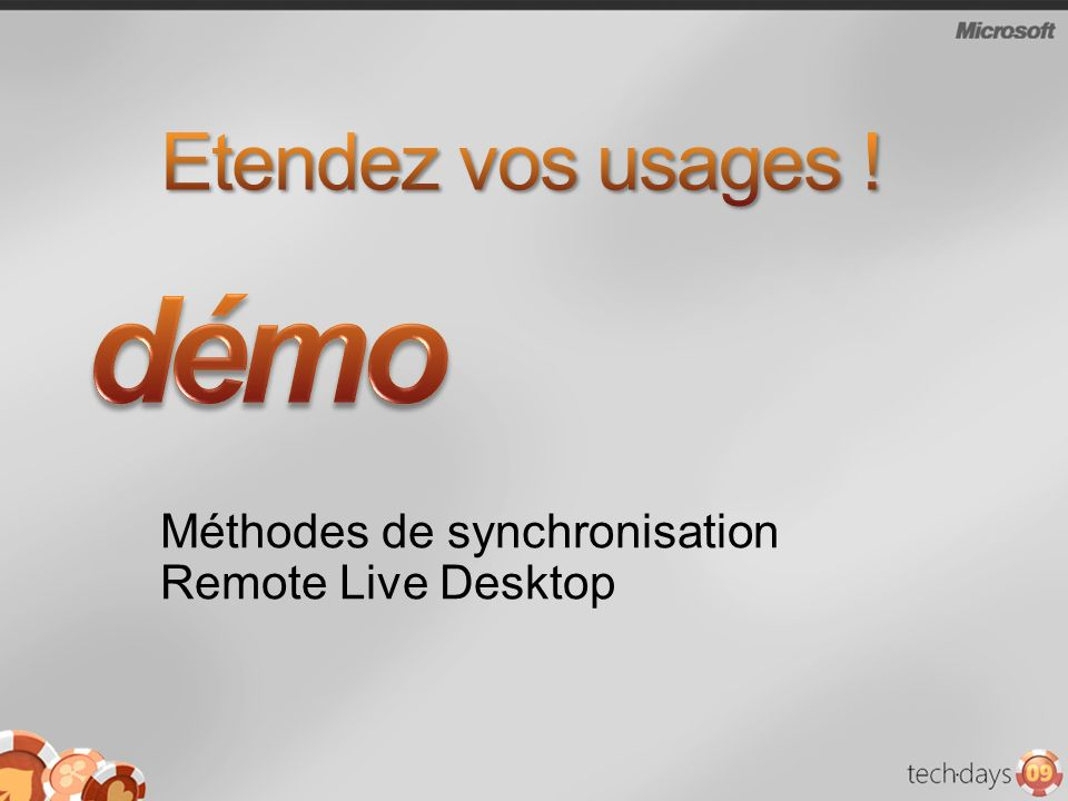 Méthodes de synchronisation Remote Live Desktop