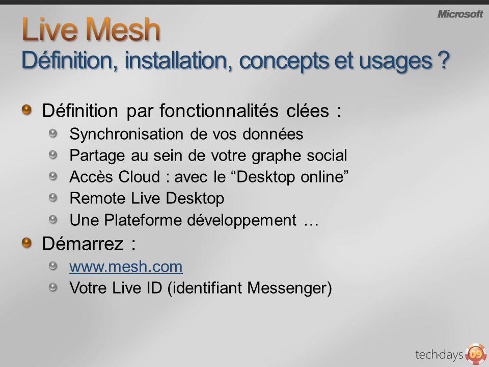 Définition par fonctionnalités clées : Synchronisation de vos données Partage au sein de votre graphe social Accès Cloud : avec le Desktop online Remote Live Desktop Une Plateforme développement … Démarrez : www.mesh.com Votre Live ID (identifiant Messenger)