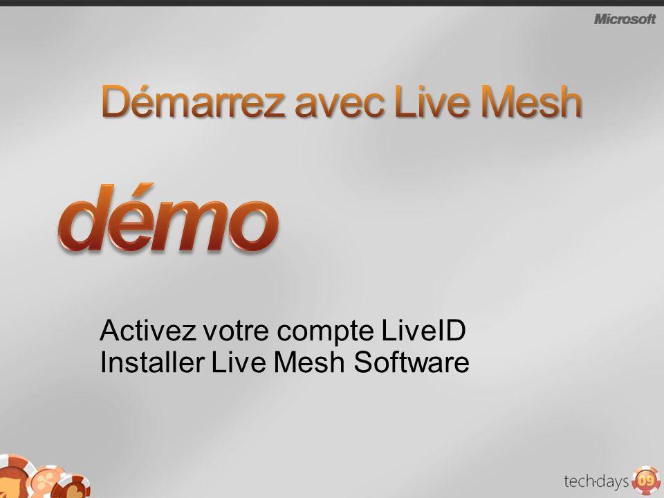 Activez votre compte LiveID Installer Live Mesh Software