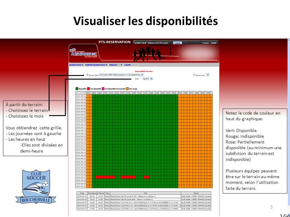 Visualiser les disponibilités Pour voir la disponibilité pour un ou plusieurs terrains: - Choisissez une date dans le calendrier - Choisissez le ou les terrains désirés, selon la subdivision désirée - Terrain entier: 11x11 ou 9x9 - Demi terrain: 7x7 - Quart de terrain: 4x4 - « End-zone »: 2x2 - Pour choisir plus dun terrain, maintenez la touche CTRL enfoncée.
