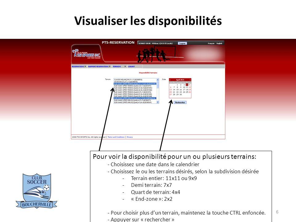 Visualiser les disponibilités 7