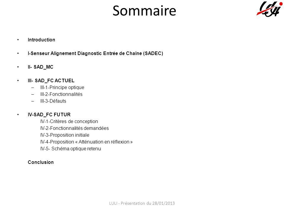 Sommaire Introduction I-Senseur Alignement Diagnostic Entrée de Chaîne (SADEC) II- SAD_MC III- SAD_FC ACTUEL –III-1-Principe optique –III-2-Fonctionnalités –III-3-Défauts IV-SAD_FC FUTUR IV-1-Critères de conception IV-2-Fonctionnalités demandées IV-3-Proposition initiale IV-4-Proposition « Atténuation en réflexion » IV-5- Schéma optique retenu Conclusion LULI - Présentation du 28/01/2013
