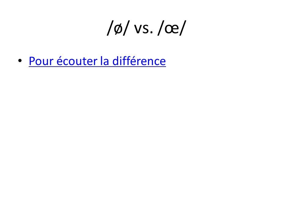 /ø/ vs. /œ/ Pour écouter la différence