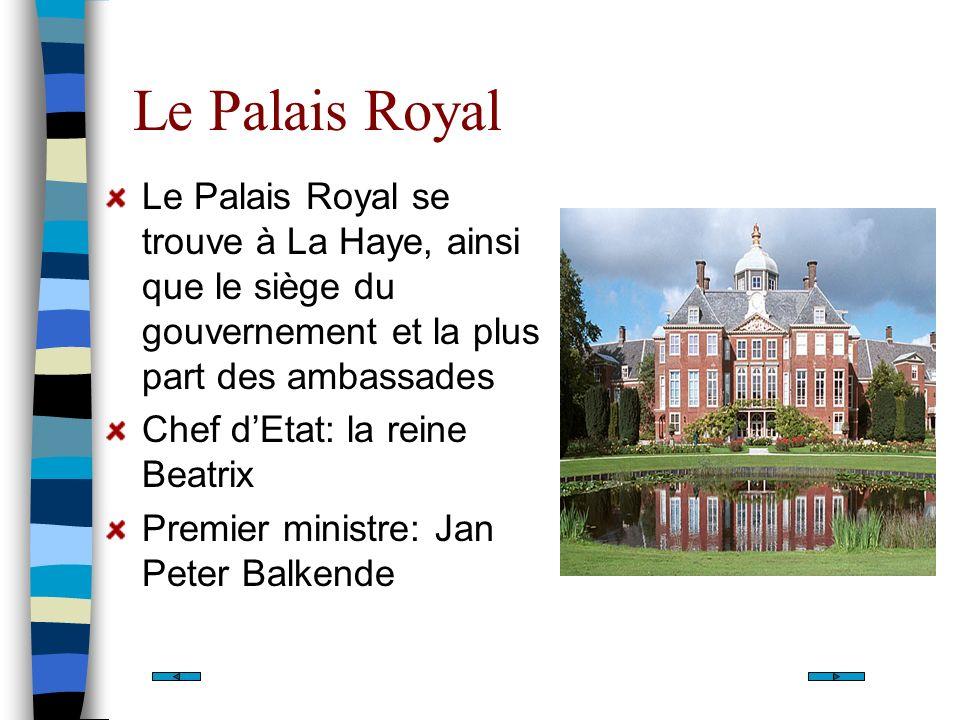 Le Palais Royal Le Palais Royal se trouve à La Haye, ainsi que le siège du gouvernement et la plus part des ambassades Chef dEtat: la reine Beatrix Pr