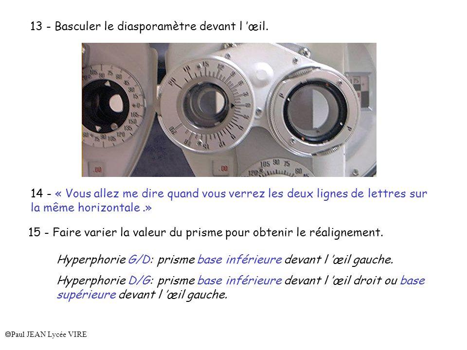 Paul JEAN Lycée VIRE 13 - Basculer le diasporamètre devant l œil. 14 - « Vous allez me dire quand vous verrez les deux lignes de lettres sur la même h