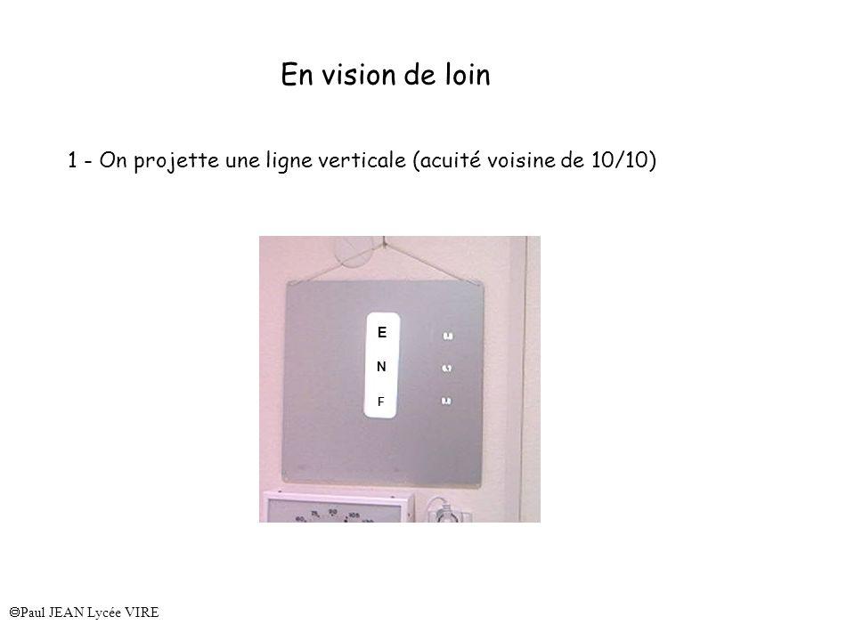 Paul JEAN Lycée VIRE En vision de loin 1 - On projette une ligne verticale (acuité voisine de 10/10) E N F