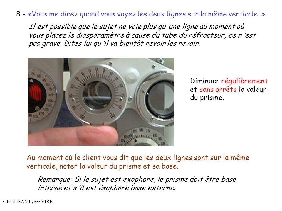 Paul JEAN Lycée VIRE 8 - «Vous me direz quand vous voyez les deux lignes sur la même verticale.» Il est possible que le sujet ne voie plus qu une lign