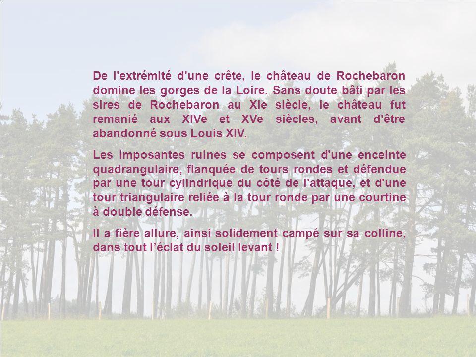 De l extrémité d une crête, le château de Rochebaron domine les gorges de la Loire.