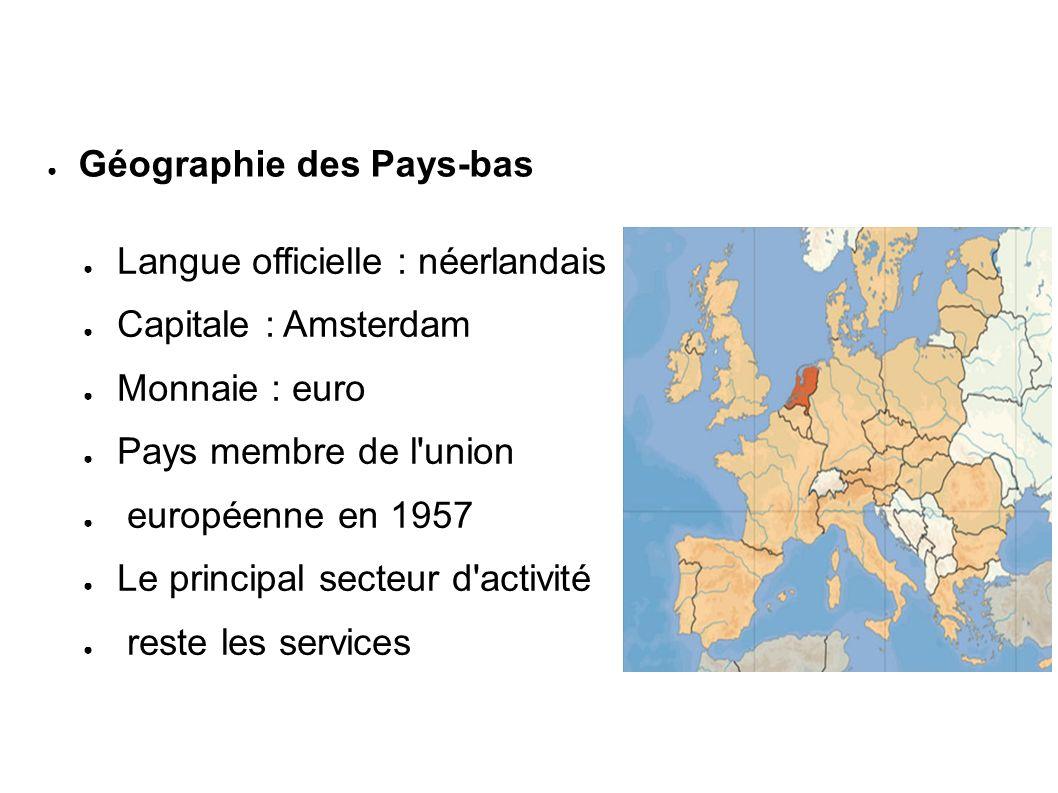 Langue officielle : néerlandais Capitale : Amsterdam Monnaie : euro Pays membre de l'union européenne en 1957 Le principal secteur d'activité reste le