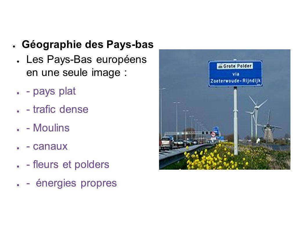 Les Pays-Bas européens en une seule image : - pays plat - trafic dense - Moulins - canaux - fleurs et polders - énergies propres Géographie des Pays-b