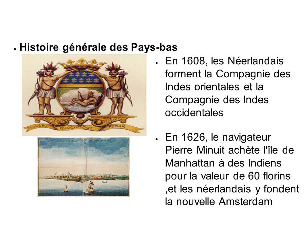 En 1608, les Néerlandais forment la Compagnie des Indes orientales et la Compagnie des Indes occidentales En 1626, le navigateur Pierre Minuit achète