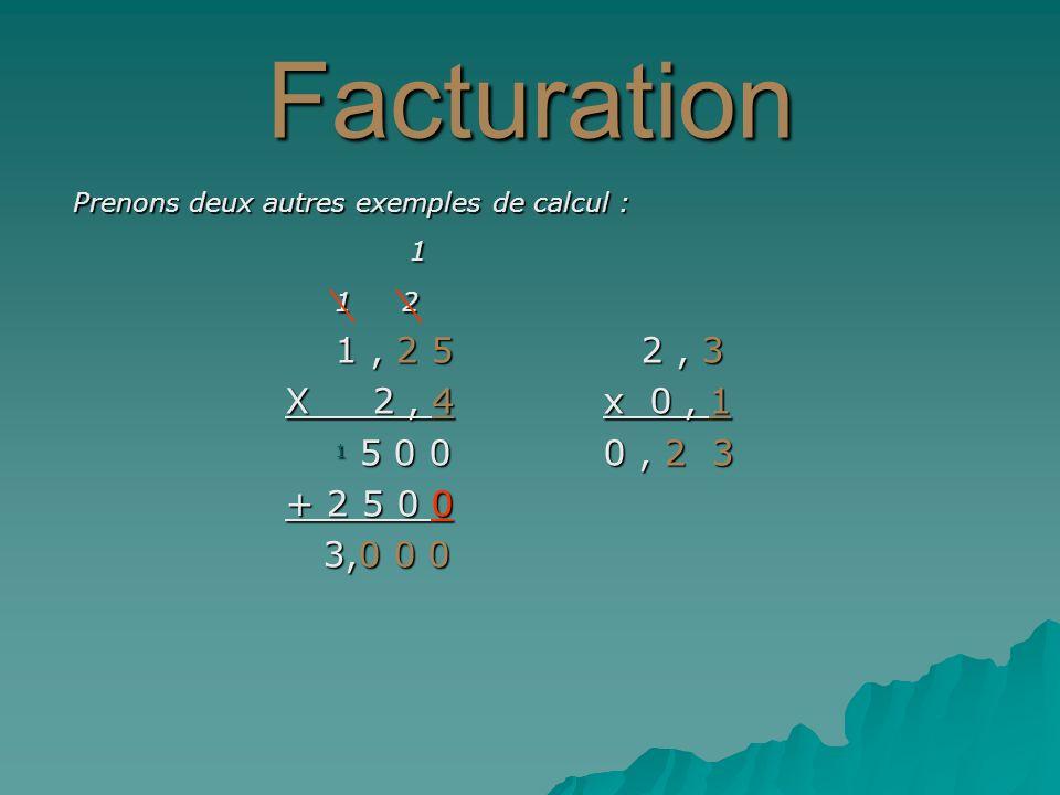 Facturation Prenons deux autres exemples de calcul : 1 1 2 1 2 1, 2 5 2, 3 1, 2 5 2, 3 X 2, 4x 0, 1 1 5 0 00, 2 3 1 5 0 00, 2 3 + 2 5 0 0 3,0 0 0 3,0