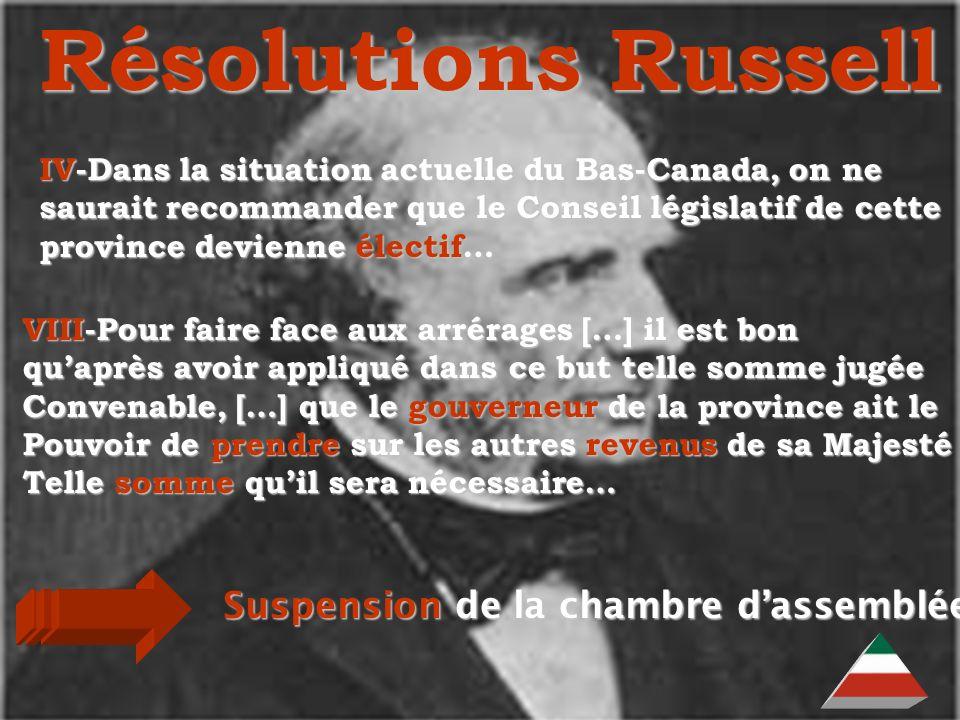 EDU-7492, David Milot, octobre 2001 Résolutions Russell Suspension de la chambre dassemblée IV-Dans la situation actuelle du Bas-Canada, on ne saurait recommander que le Conseil législatif de cette province devienne électif… VIII-Pour faire face aux arrérages […] il est bon quaprès avoir appliqué dans ce but telle somme jugée Convenable, […] que le gouverneur de la province ait le Pouvoir de prendre sur les autres revenus de sa Majesté Telle somme quil sera nécessaire…