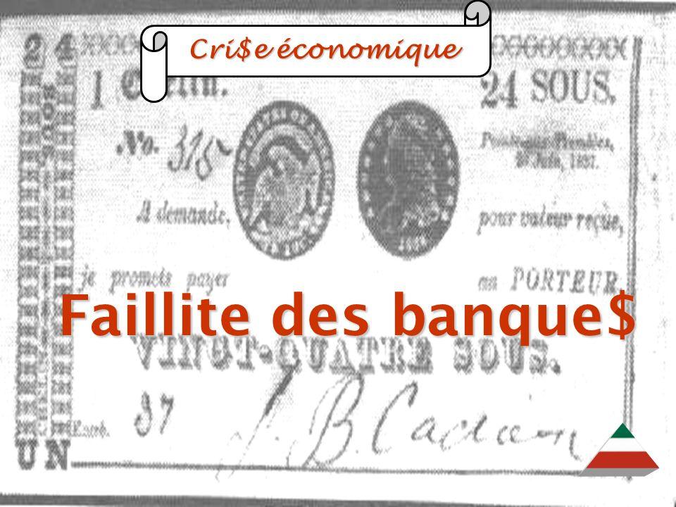 EDU-7492, David Milot, octobre 2001 Cri$e économique Cri$e économique Faillite des banque$