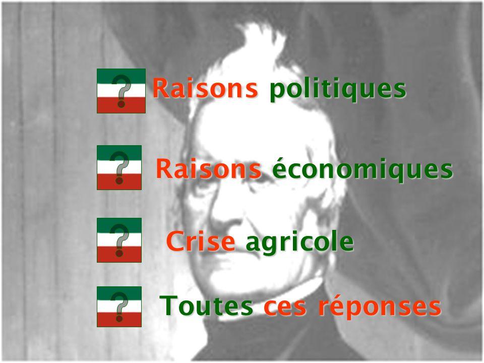 EDU-7492, David Milot, octobre 2001 Raisons politiques Raisons économiques Crise agricole Toutes ces réponses
