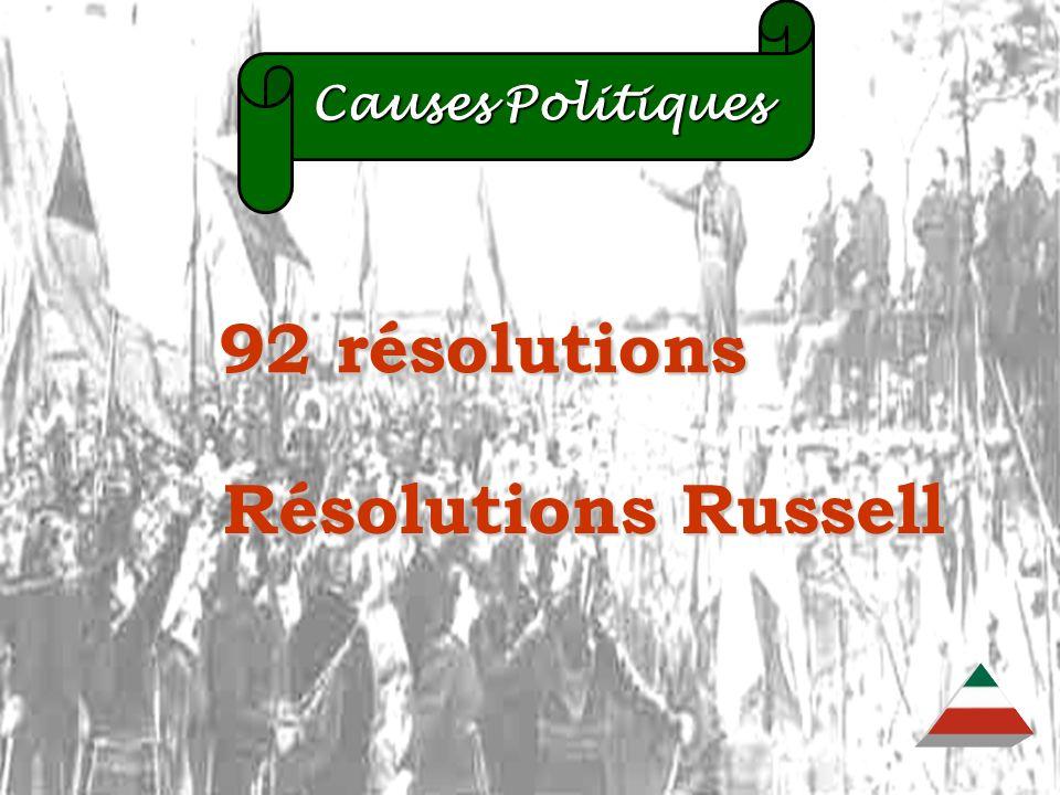 EDU-7492, David Milot, octobre 2001 Causes Politiques Causes Politiques 92 résolutions 92 résolutions Résolutions Russell Résolutions Russell