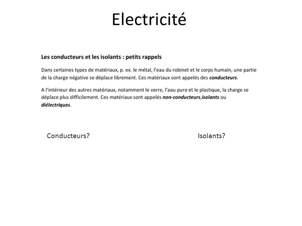 Electricité Conducteurs?Isolants?