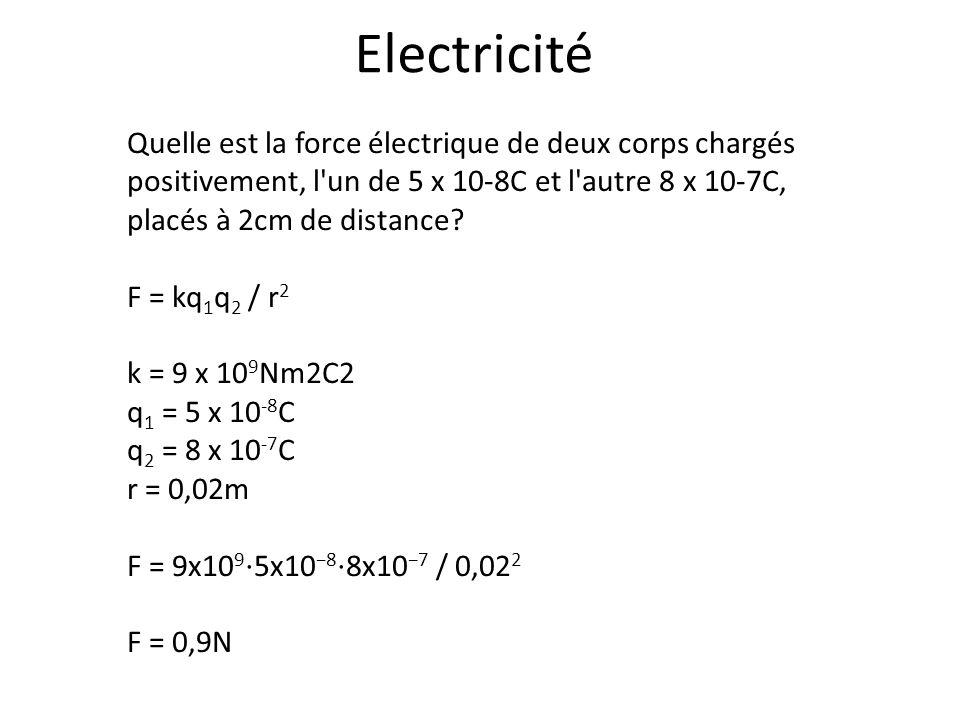 Quelle est la force électrique de deux corps chargés positivement, l'un de 5 x 10-8C et l'autre 8 x 10-7C, placés à 2cm de distance? F = kq 1 q 2 / r