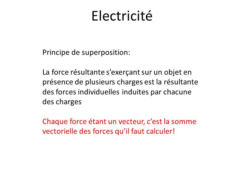 Electricité Principe de superposition: La force résultante sexerçant sur un objet en présence de plusieurs charges est la résultante des forces indivi