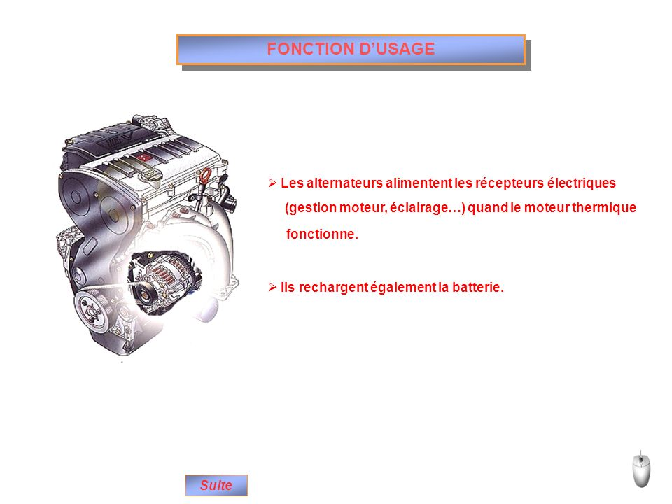 FONCTION DUSAGE Suite Les alternateurs alimentent les récepteurs électriques Ils rechargent également la batterie. (gestion moteur, éclairage…) quand