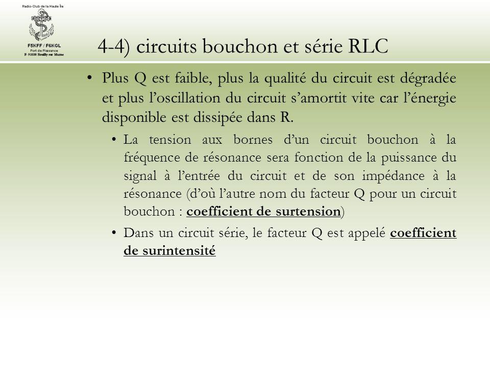 4-4) circuits bouchon et série RLC Plus Q est faible, plus la qualité du circuit est dégradée et plus loscillation du circuit samortit vite car lénerg