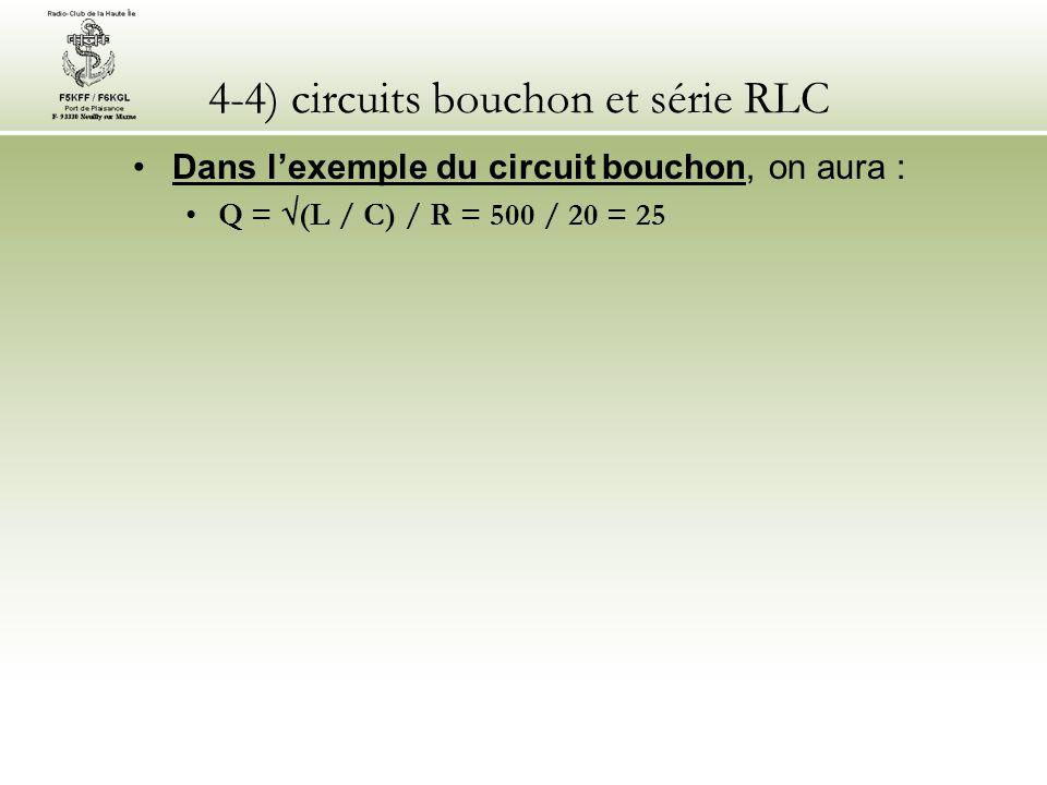 4-4) circuits bouchon et série RLC Dans lexemple du circuit bouchon, on aura : Q = (L / C) / R = 500 / 20 = 25