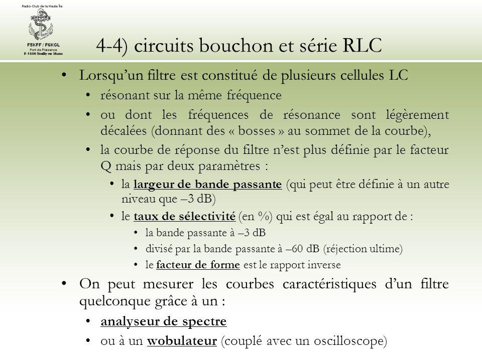 4-4) circuits bouchon et série RLC Lorsquun filtre est constitué de plusieurs cellules LC résonant sur la même fréquence ou dont les fréquences de rés
