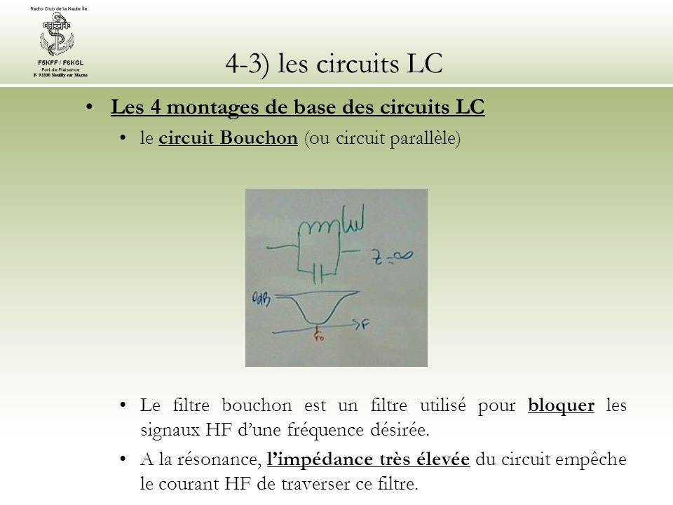 4-3) les circuits LC Les 4 montages de base des circuits LC le circuit Bouchon (ou circuit parallèle) Le filtre bouchon est un filtre utilisé pour blo