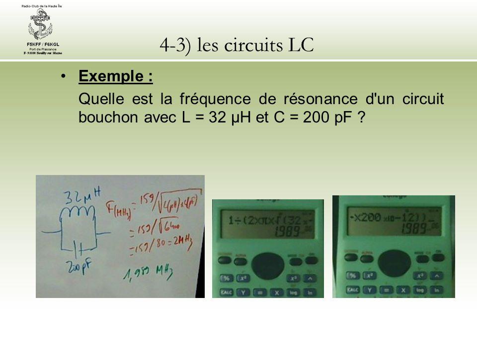 4-3) les circuits LC Exemple : Quelle est la fréquence de résonance d'un circuit bouchon avec L = 32 µH et C = 200 pF ?