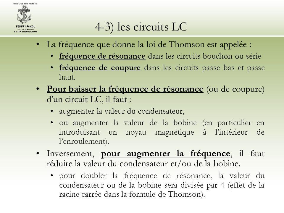 4-3) les circuits LC La fréquence que donne la loi de Thomson est appelée : fréquence de résonance dans les circuits bouchon ou série fréquence de cou