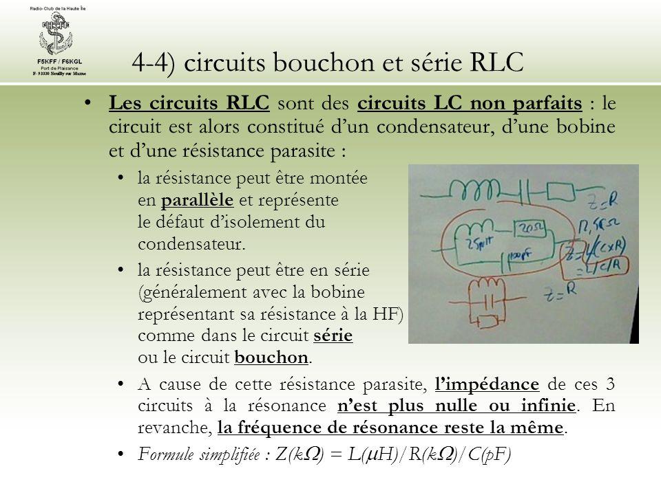 4-4) circuits bouchon et série RLC Les circuits RLC sont des circuits LC non parfaits : le circuit est alors constitué dun condensateur, dune bobine e