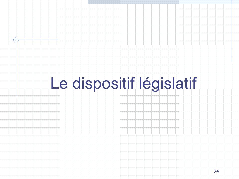 24 Le dispositif législatif