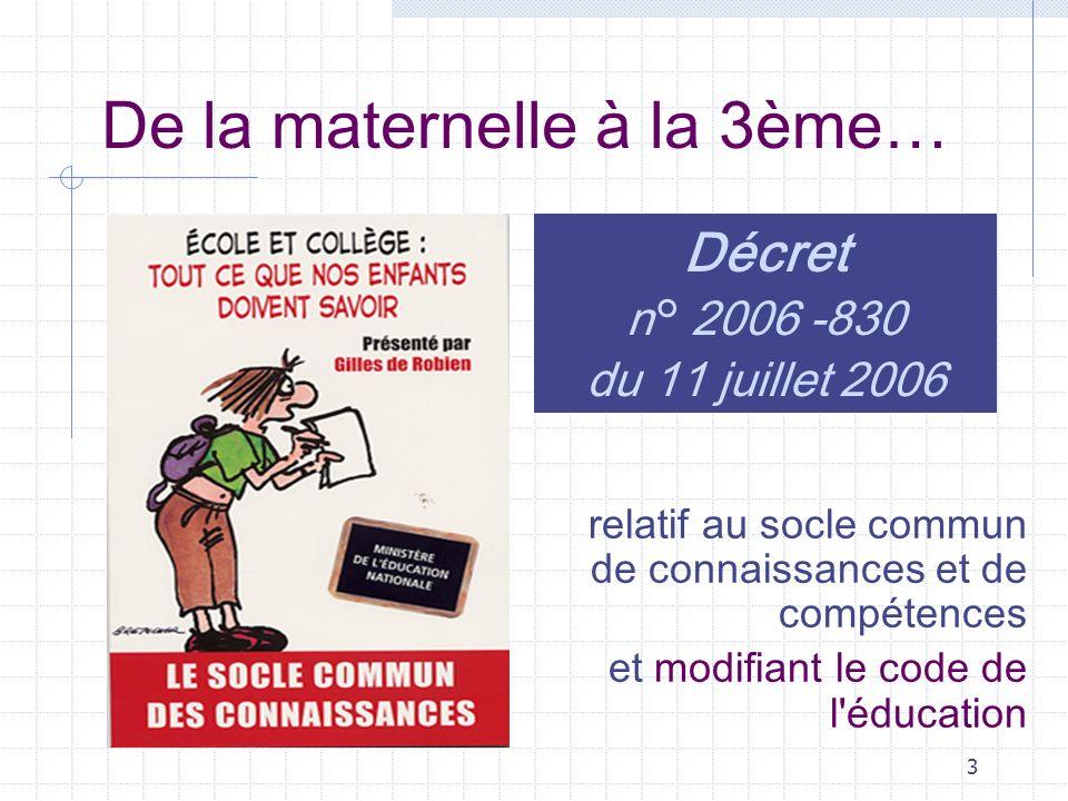 3 De la maternelle à la 3ème… relatif au socle commun de connaissances et de compétences et modifiant le code de l éducation Décret n° 2006 -830 du 11 juillet 2006